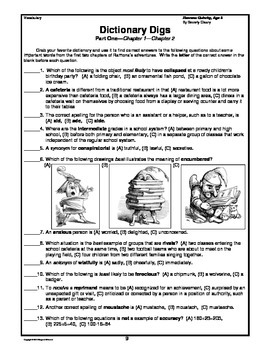 Ramona Quimby, Age 8  Prereading, Vocabulary Study, Short Answer Questions