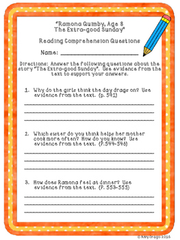 Ramona Quimby, Age 8:  The Extra-good Sunday Comprehension Questions