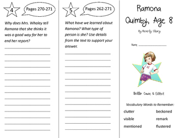Ramona Quimby Age 8 Trifold - Storytown 3rd Grade Unit 5 Week 4