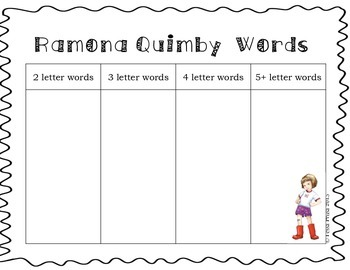 Word Work Centers: Ramona Quimby, Age 8