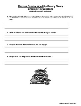 Ramona Quimby, Age 8 by Beverly Cleary- Questions Chapters 2-3, 4-5, 7-9