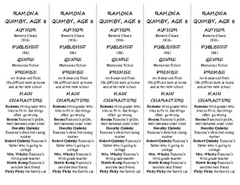 Ramona Quimby, Age 8 edition of Bookmarks Plus—Fun Freebie/Handy Reading Aid!