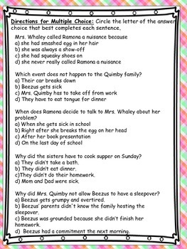 Ramona Quimby Common Core Novel Test