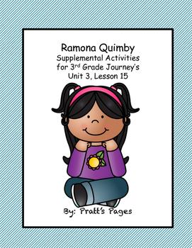 Ramona Quimby Supplemental Journey's activities Unit 3, Unit 15