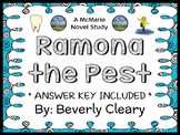 Ramona The Pest (Beverly Cleary) Novel Study / Reading Comprehension