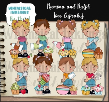 Ramona and Ralph Love Cupcakes Clipart Collection