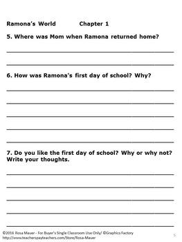 Ramona's World Free Book Unit Chapter 1