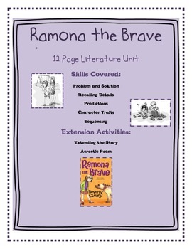 Ramona the Brave Literature Unit Plus Extension Activities