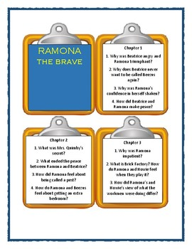 Beverly Cleary RAMONA THE BRAVE - Discussion Cards