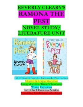 ramona the pest literature unit novel study by susan brody tpt rh teacherspayteachers com Ramona Volume 1 Ramona and Beezus Pictures Only