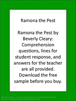 Ramona the Pest Reading Comprehension