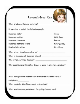 Ramona the Pest by Beverly Cleary Literature Unit