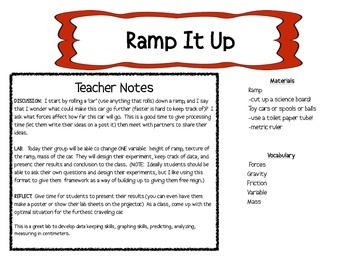 Ramp It UP -  LAB gravity, friction, mass -