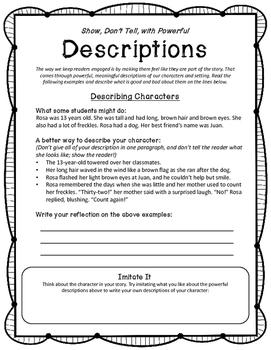 Imaginative Story Writing -- Descriptions