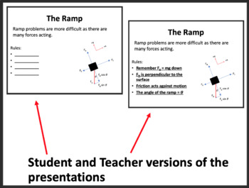 Ramps, Pulley's and Forces - Physics PowerPoint Lesson with Worksheet