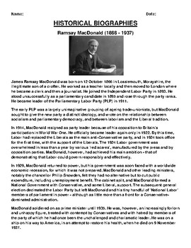 Ramsay MacDonald Biography Article and (3) Assignments