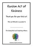 Random Act of Kindness Certificate