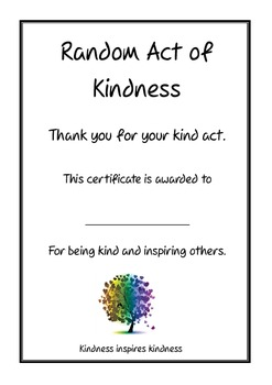 Random Act of Kindness Certificate by All Organised | TpT