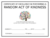 Random Act of Kindness Certificate of Excellence