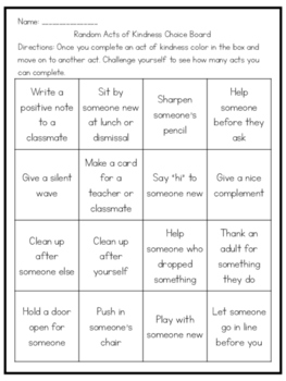 Random Act of Kindness Choice Board