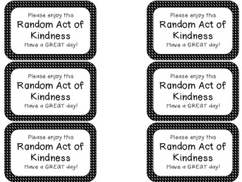 Printable Random Acts Of Kindness Notes Teaching Resources ...