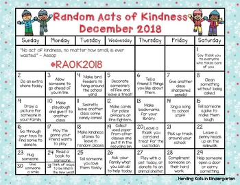 Random Acts Of Kindness Calendar December 2018