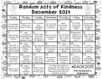 Random Acts Of Kindness Calendar December 2019