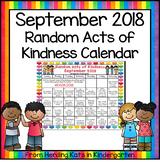 Random Acts Of Kindness Calendar September 2018