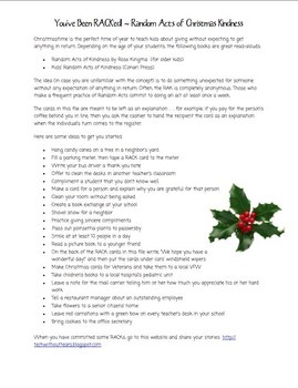 Random Acts of Christmas Kindness Cards & Ideas