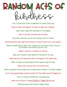Random Acts of Kindness- December Challenge