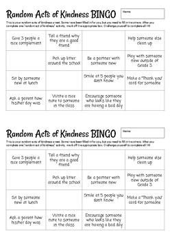 Random Acts of Kindness BINGO