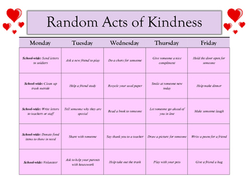 Random Acts of Kindness Calendar - Any Month