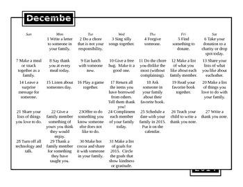 Random Acts of Kindness Calendar December 2014