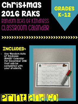 Random Acts of Kindness Calendar for December 2016