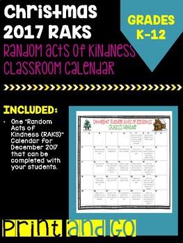 Random Acts of Kindness Calendar for December 2017 Christmas