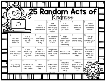 Random Acts of Kindness Christmas (or winter) Calendar