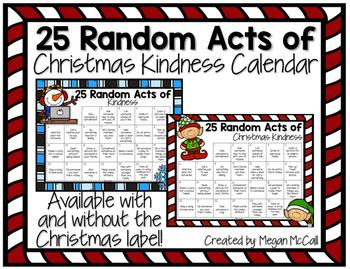 Random Acts of Kindness Christmas (or winter) Calendar
