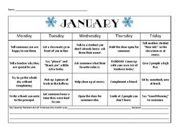 Random Acts of Kindness Student Calendar