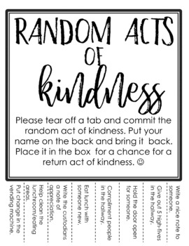 Random Acts of Kindness Tear-Away Ideas to Promote Kindness