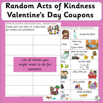 Valentine's Day Writing Activity: Random Acts of Kindness | FREE! (SASSOON Font)