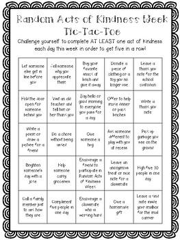 Random Acts of Kindness Week Tic-Tac-Toe (No Prep!)