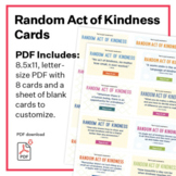 Random Acts of Kindness cards - PDF: 8 kindness quotes and 8 blank printables!