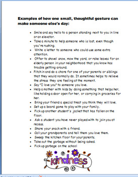 Kindness -Random Acts of Kindness, lesson plan, 3 great activities!