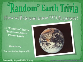 """Random"" Earth Trivia PowerPoint  (Perfect for Earth Day and Math Related!)"