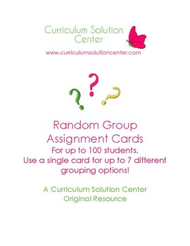 Random Group Assignment Cards {Cooperative Learning, Ice Breakers, Group Work}
