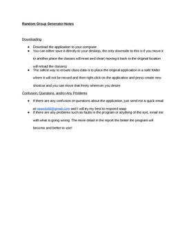 Random Group Generator Notes