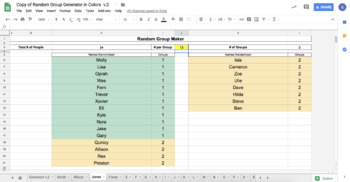 Random Group Maker using Google Sheets