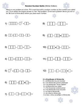 Random Number Battle (Winter)