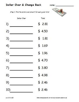 Dollar Over (Rounding Up) & Change Back Money Worksheets *Random Numbers*