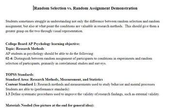 Random Selection vs. Random Assignment Demo